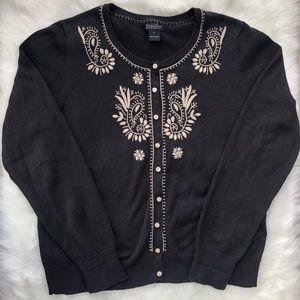 Lucky Brand cardigan sweater Sz XL black button up